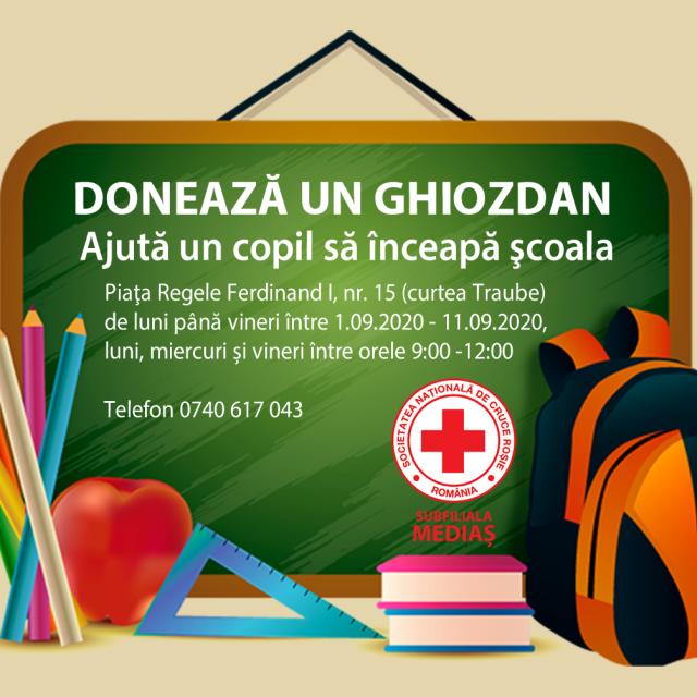 """Crucea Roșie subfiliala Mediaș desfășoară campania """"Donează un ghiozdan"""""""